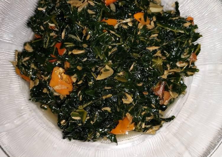 Tumis daun pepaya jepang+rebon