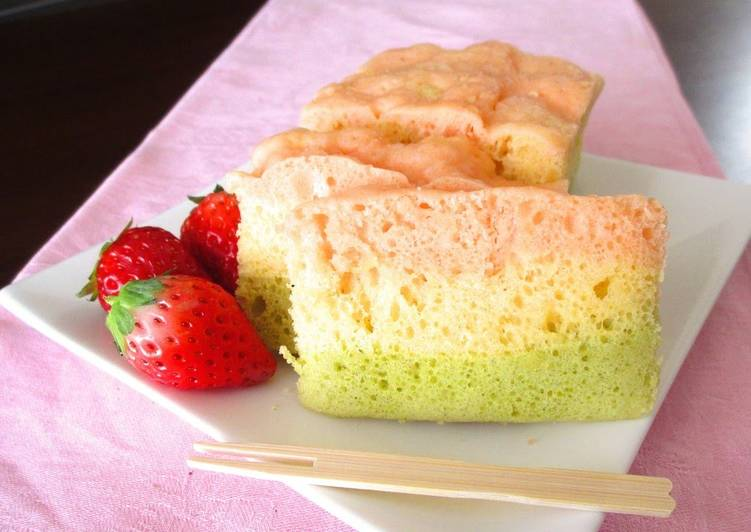 Recipe of Favorite For Doll Festival: Easy Tri-Color Steamed Bread Cake made with Pancake Mix