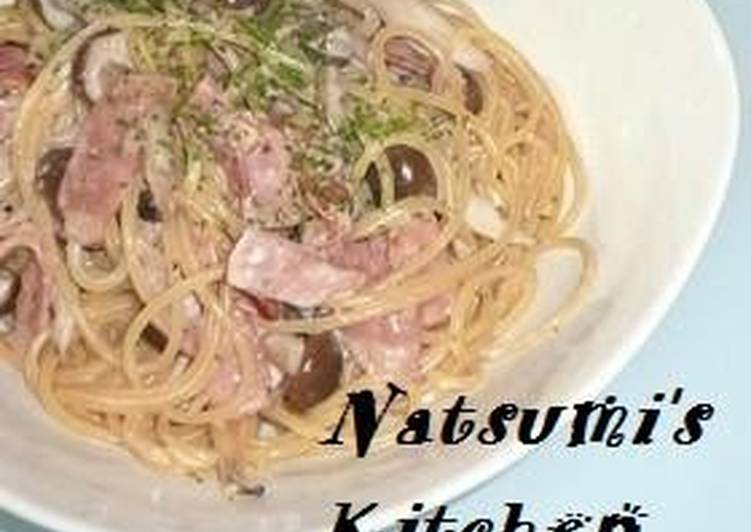 Mushroom and Bacon Cheese Cream Pasta