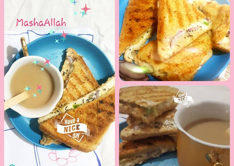 Recipe of Ultimate Herby cheezy grillpan sandwich