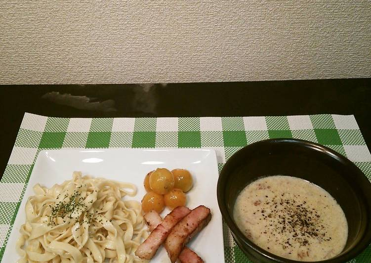 How to Cook Yummy Handmade Pasta With Carbonara Dipping Sauce