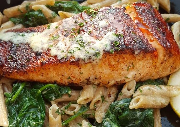 Recipe of Super Quick Homemade Bbq jerk salmon over pasta