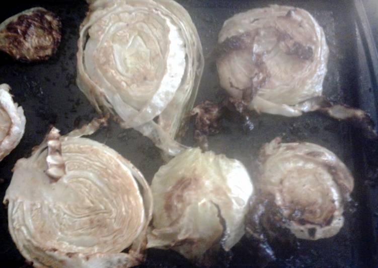 roasted garlic cabbage steaks