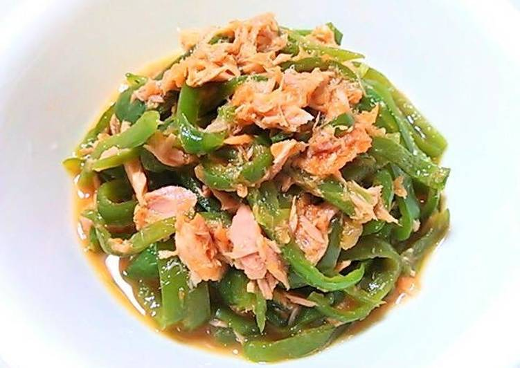 Easiest Way to Make Favorite Green Pepper and Tuna with Grated Carrot Ponzu