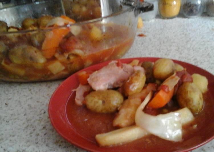 Recipe of Homemade My Sweet & Tangy Roast Gammon Veg Bake  😁