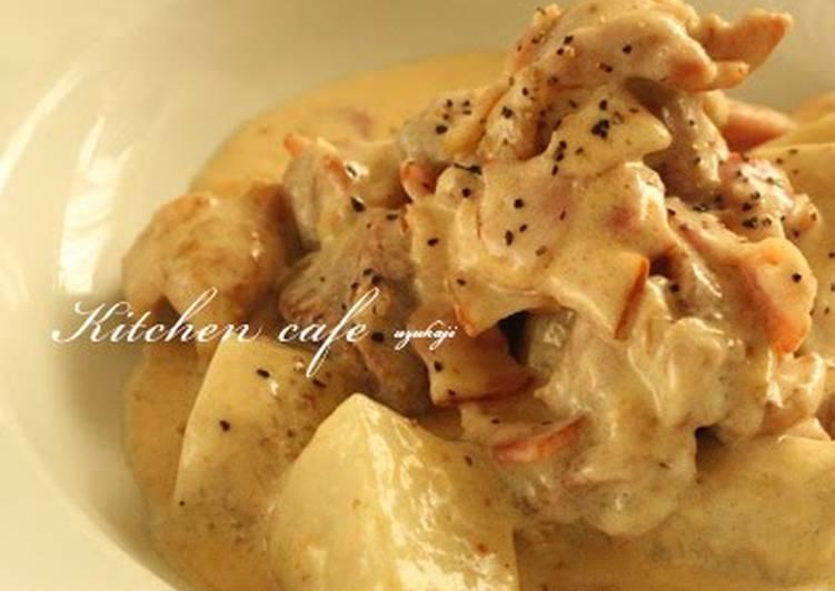 How to Make Quick Satoimo (Taro Root) and Chicken in Cream Sauce