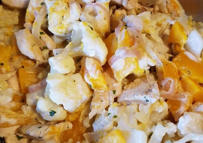 Chou fleur potimarron au curry et coco