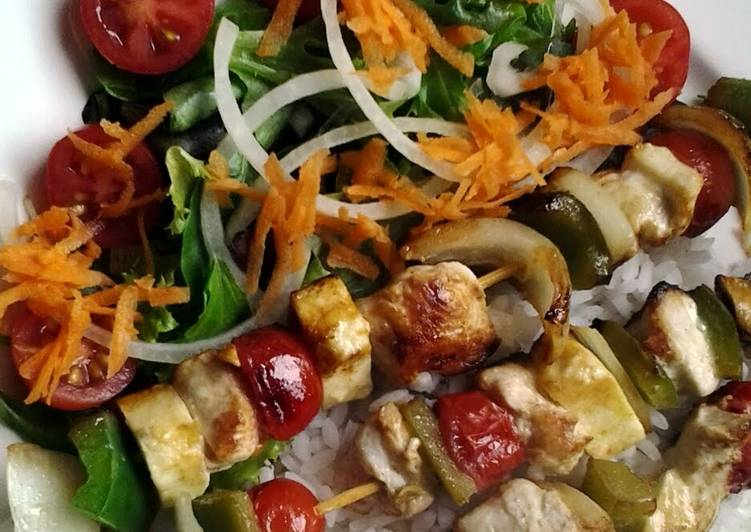 Chicken, Haloumi and Vegetable skewers