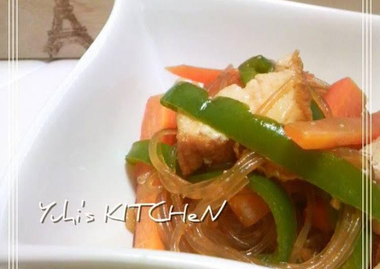 Recipe of Award-winning Hearty but Meat-free Japchae with Atsuage