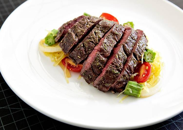 Easiest Way to Make Quick Roasted Hanger Steak with Spaghetti Squash and Okra Sauté