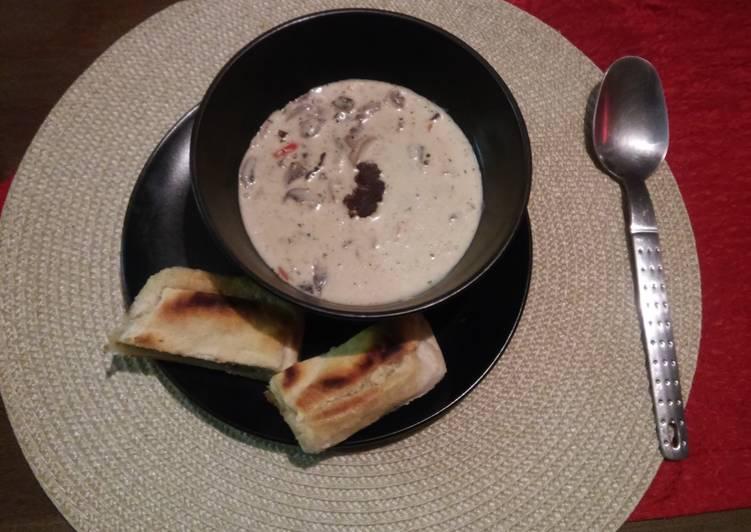 Recipe of Super Quick Homemade Creamy Mushroom and Biltong Soup