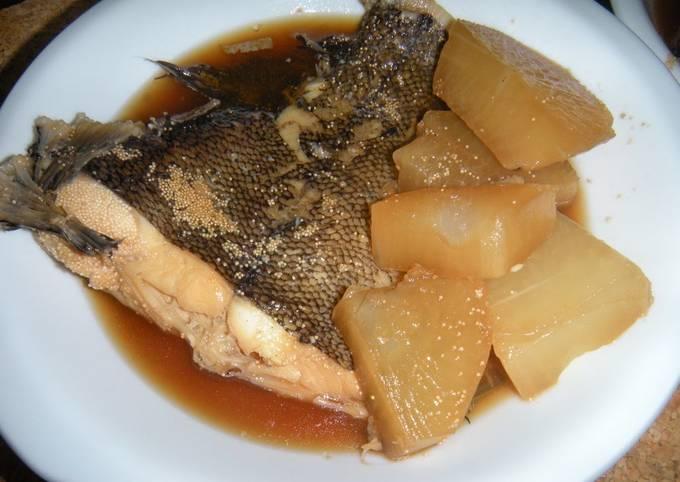 Amazing!! Super Tender Soy Sauce Flavored Daikon Radish & Flounder