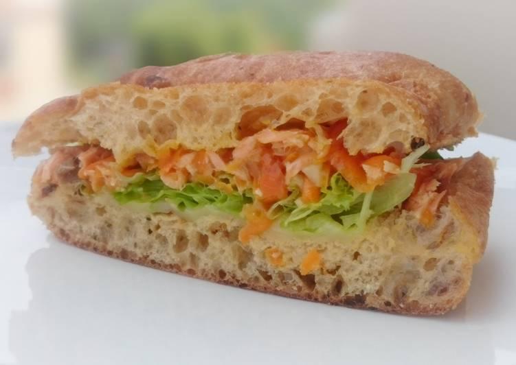 Recipe: Appetizing Salmon And Cheese Sandwich