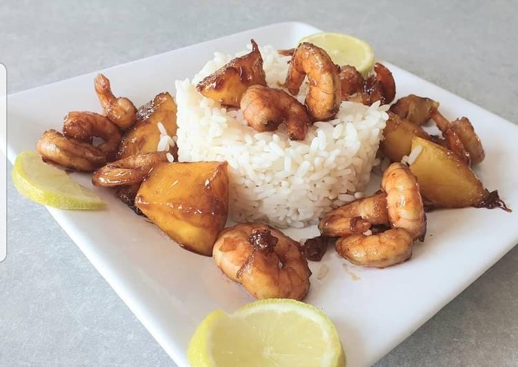 Riz aux crevettes mangue sauce soja et miel