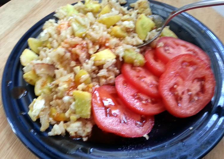 skye's yellow squash & fried brown rice