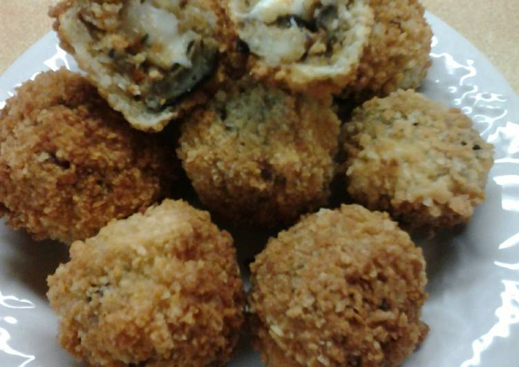 Recipe: Perfect Crispy Mozerella Stuffed Chipotle Eggplant Fritters