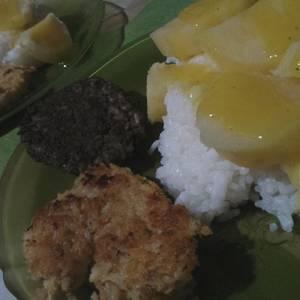 Papas a la mostaza con arroz & croquetas de arroz y legumbres (vegan)!