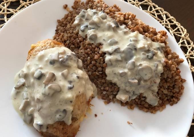 Chicken breast stuffed with mushroomspoured mushroom sauce