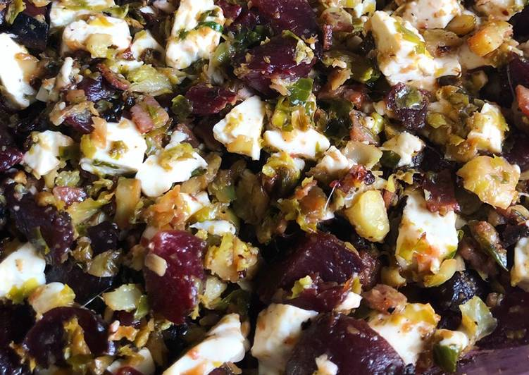 Steps to Make Favorite Roasted Shaved Brussels Sprouts, Beets, Turkey Bacon and Fresh Mozzarella Curd