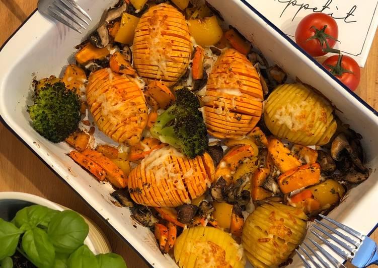 Recipe: Perfect Fächer-Süsskartoffeln mit Ofengemüse