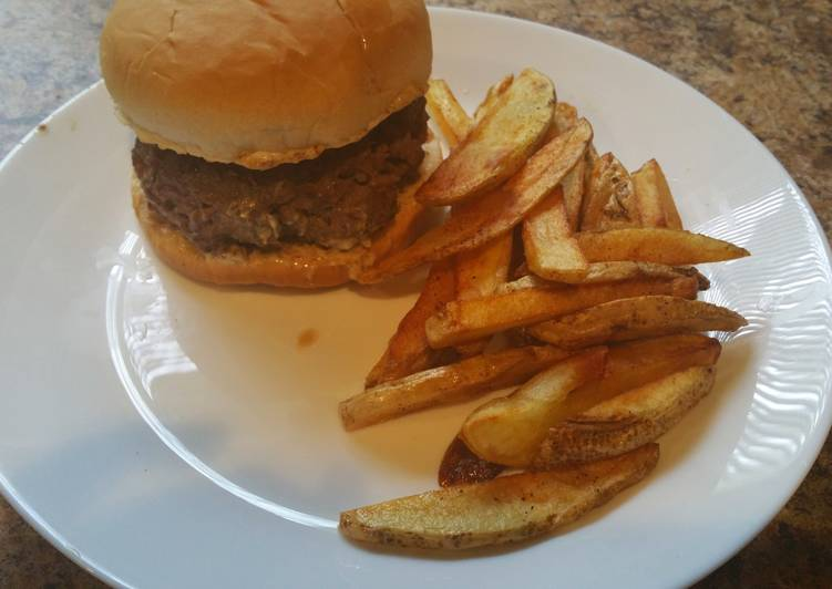Oinion-tastic! Hamburger With Homemade Fries