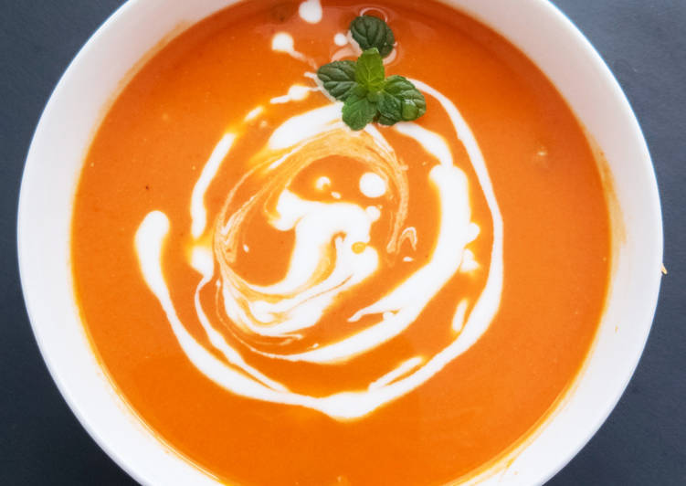 Roasted Sweet Potato, Carrot-Red Pepper Soup