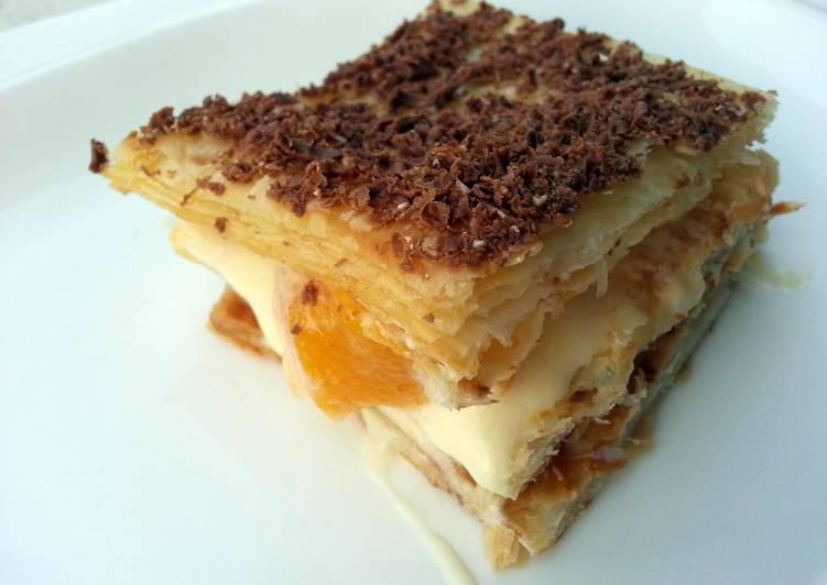 Steps to Make Speedy Peach And Chocolate Millefeuille