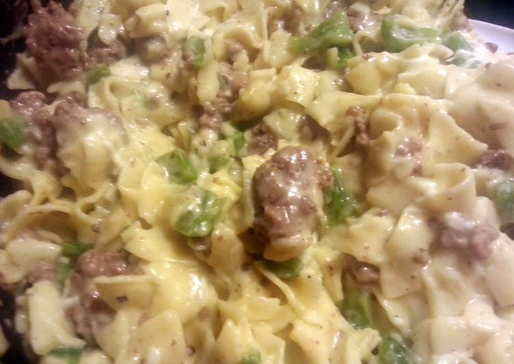 Simple Way to Prepare Super Quick Homemade Philly cheese steak pasta