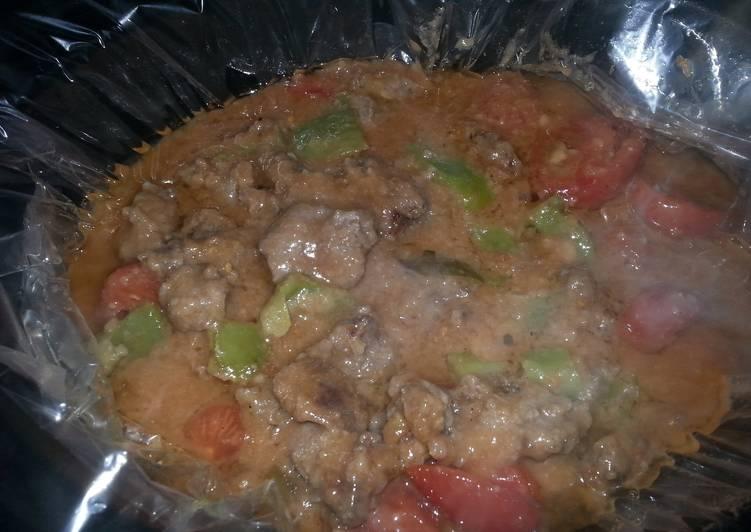 Pepper steak in a crock pot