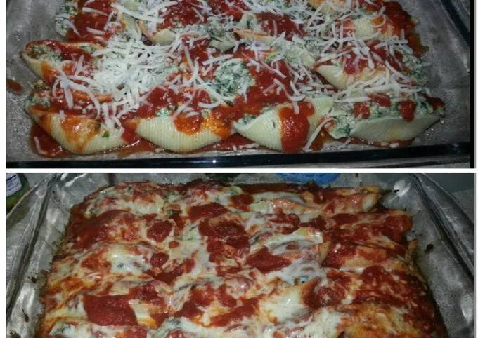 Jumbo stuffed shells with ground beef & spinach!