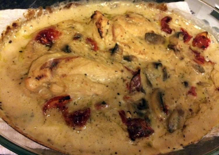 How To Make Your Chicken bake with mushrooms and sundried tomatos