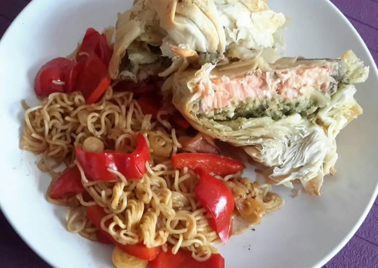 25 Minute Recipe of Love Sig's Salmon filled filo purse
