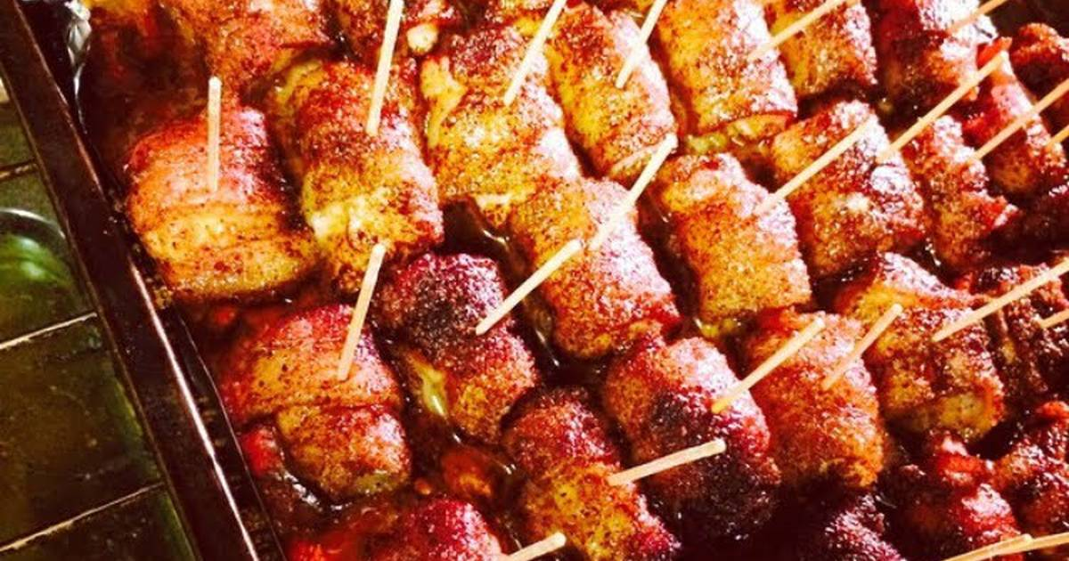 Chili Powder, Brown Sugar Bacon Wrapped Chicken Poppers!