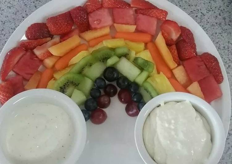 Easiest Way to Make Super Quick Homemade Colorful Fruit and Veggie Rainbow