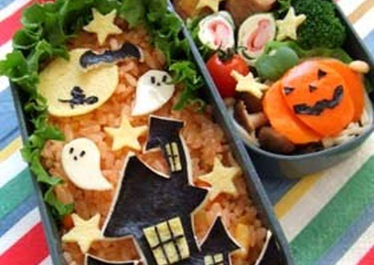 Recipe of Favorite Haunted House Character Bento for Halloween