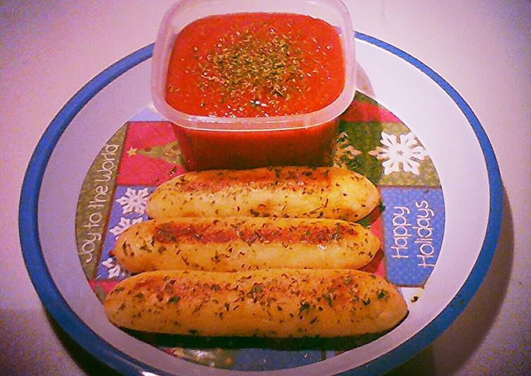 Cheese Stuffed Bread Sticks w/ Garlic Butter and Parsley