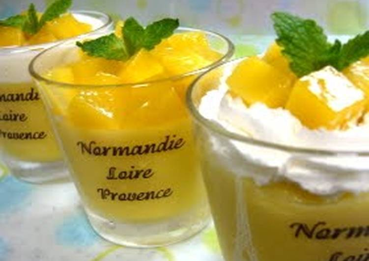 Simple Way to Make Ultimate Mango Yogurt Pudding with Kanten!