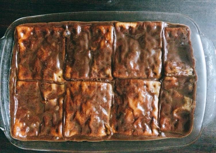 resep cara mengolah Puding Coklat Roti Cabin
