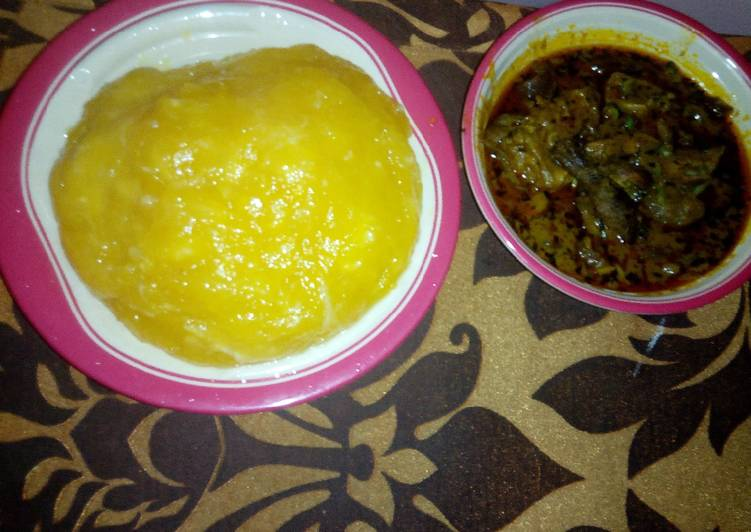 Step-by-Step Guide to Prepare Super Quick Homemade Goat meat Banga soup and starch