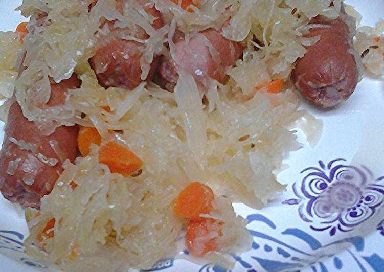 Sautéed Hotdogs and Carrots in Sauerkraut