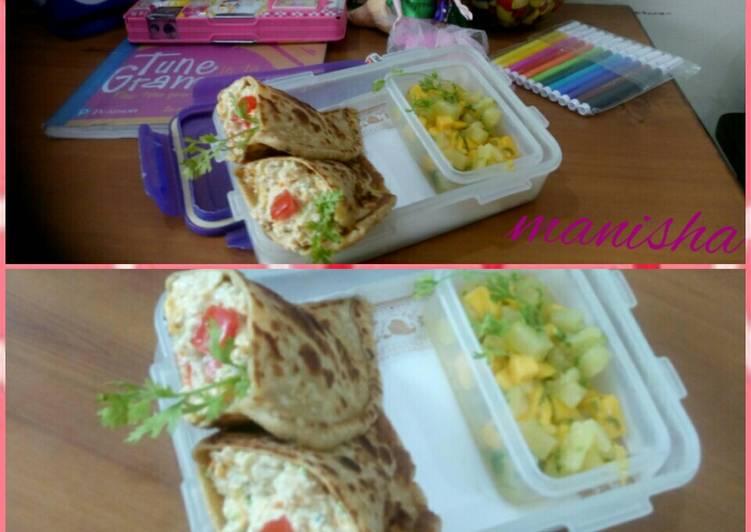 Recipe of Speedy Veg soya cheesy packet with mango pineapple salsa