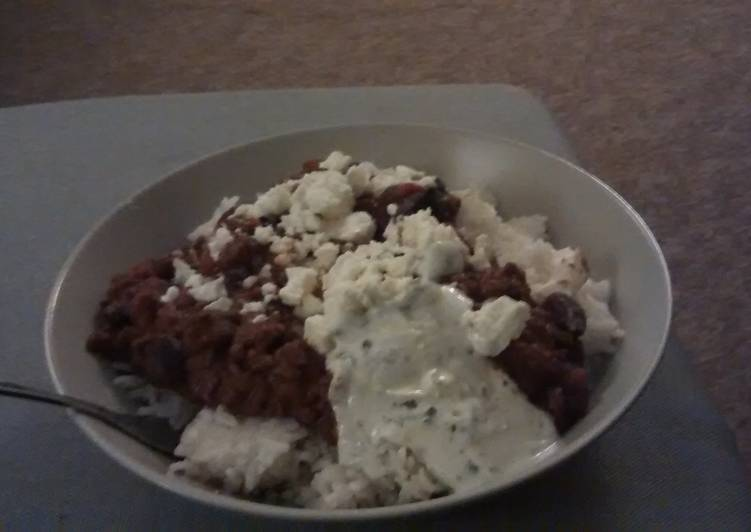 Leftovers chilli and mint yogurt