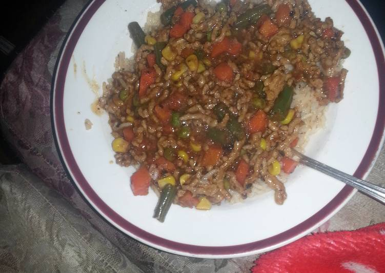 Anything stir fry and spiced rice