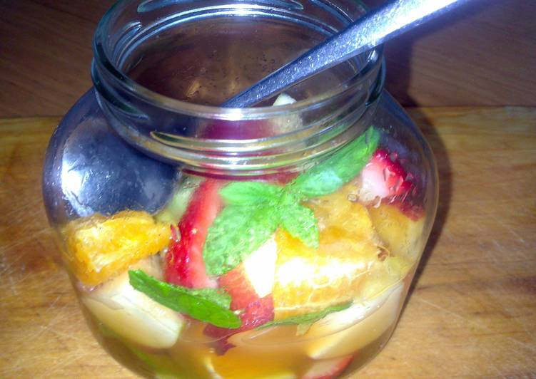 Simple Way to Make Super Quick Homemade sig's Fruit Salad in a Jar