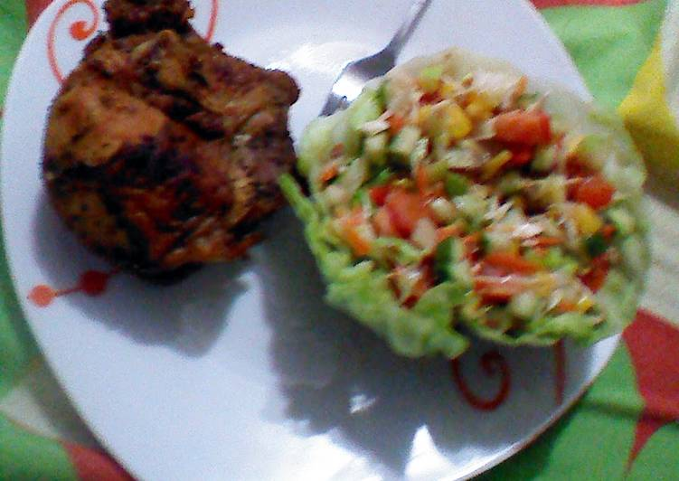 Roasted chicken and salad