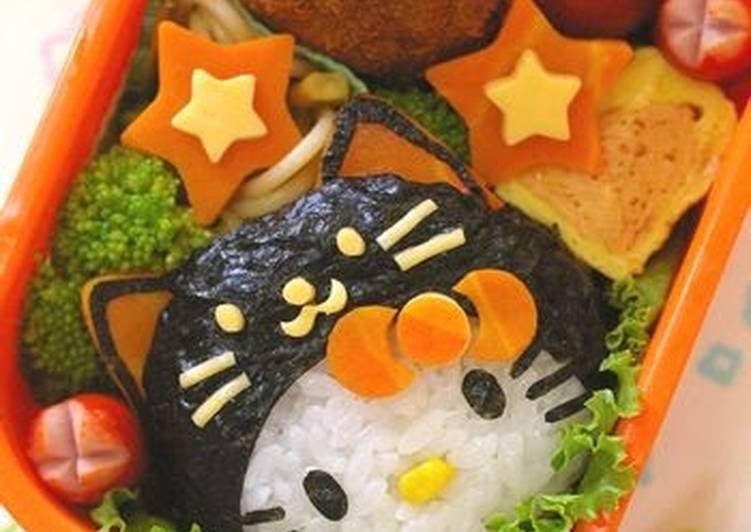 Black Cat Hello Kitty Halloween Bento