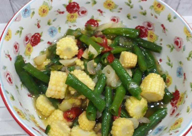 Resep Oseng kacang panjang jagung muda Yang Umum Pasti Endes