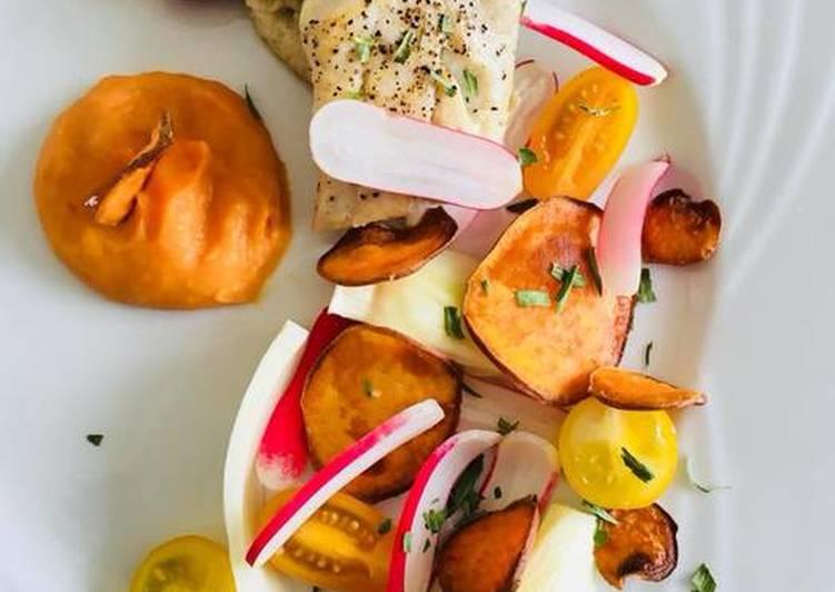 Comment Préparer Les Dos de Lieu Noir Purée et chips de Patate douce et Légumes croquants