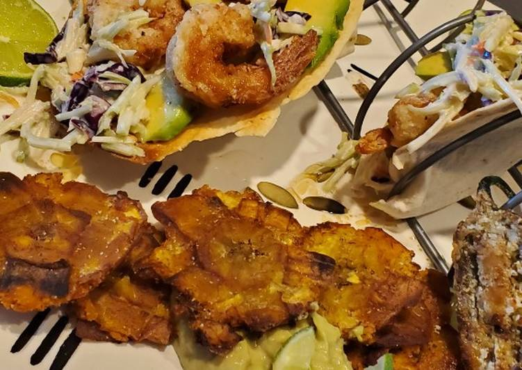 Simple Way to Prepare Ultimate My Salt and Pepper Shrimp Taco with Tostones and Garlic Aioli