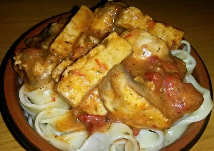 Sig's Tofu and Mushroom Pasta